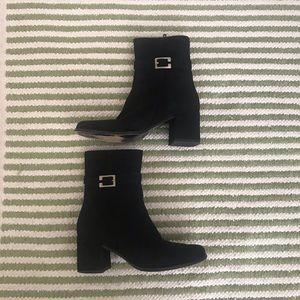 Italian Black suede leather booties